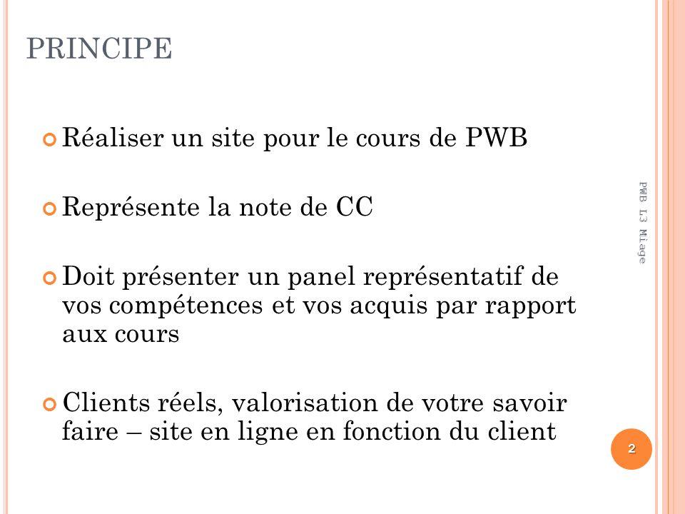 PRINCIPE Réaliser un site pour le cours de PWB Représente la note de CC Doit présenter un panel représentatif de vos compétences et vos acquis par rap