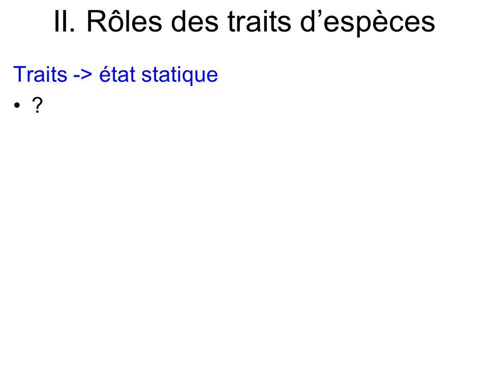 II. Rôles des traits despèces Traits -> état statique ?