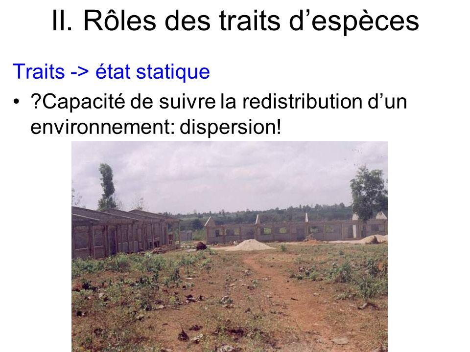 II. Rôles des traits despèces Traits -> état statique ?Capacité de suivre la redistribution dun environnement: dispersion!