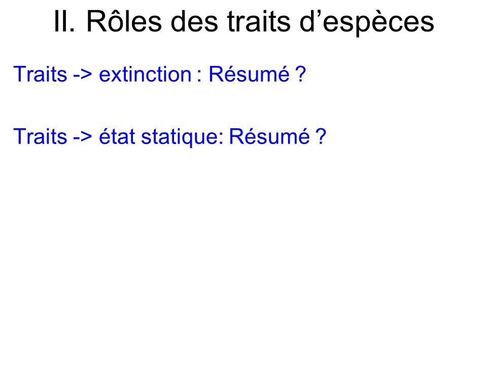 II. Rôles des traits despèces Traits -> extinction : Résumé ? Traits -> état statique: Résumé ?