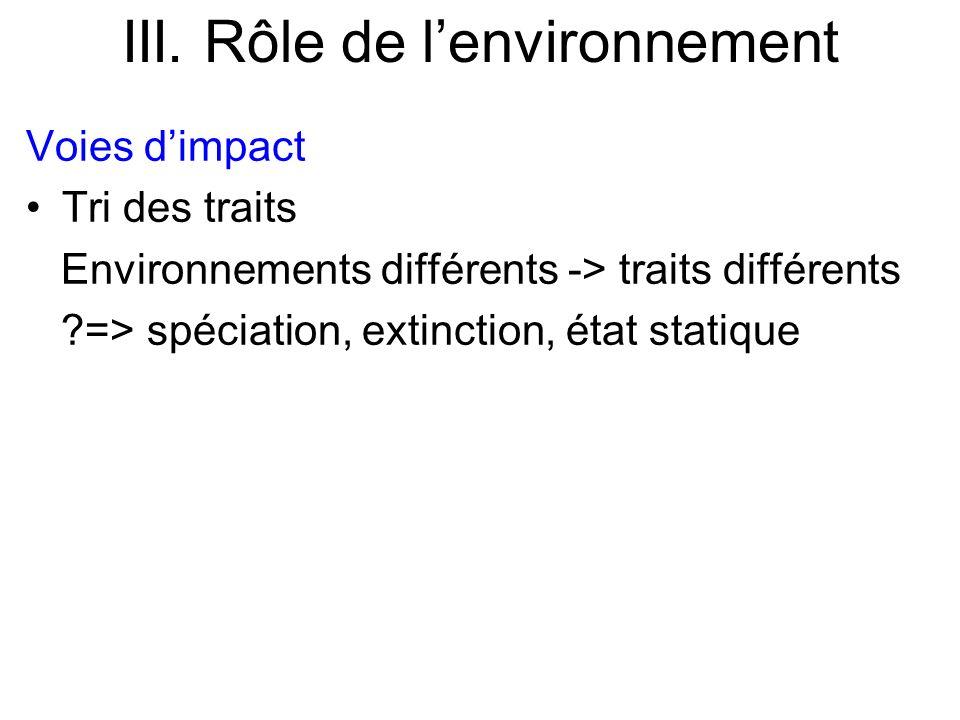 III. Rôle de lenvironnement Voies dimpact Tri des traits Environnements différents -> traits différents ?=> spéciation, extinction, état statique
