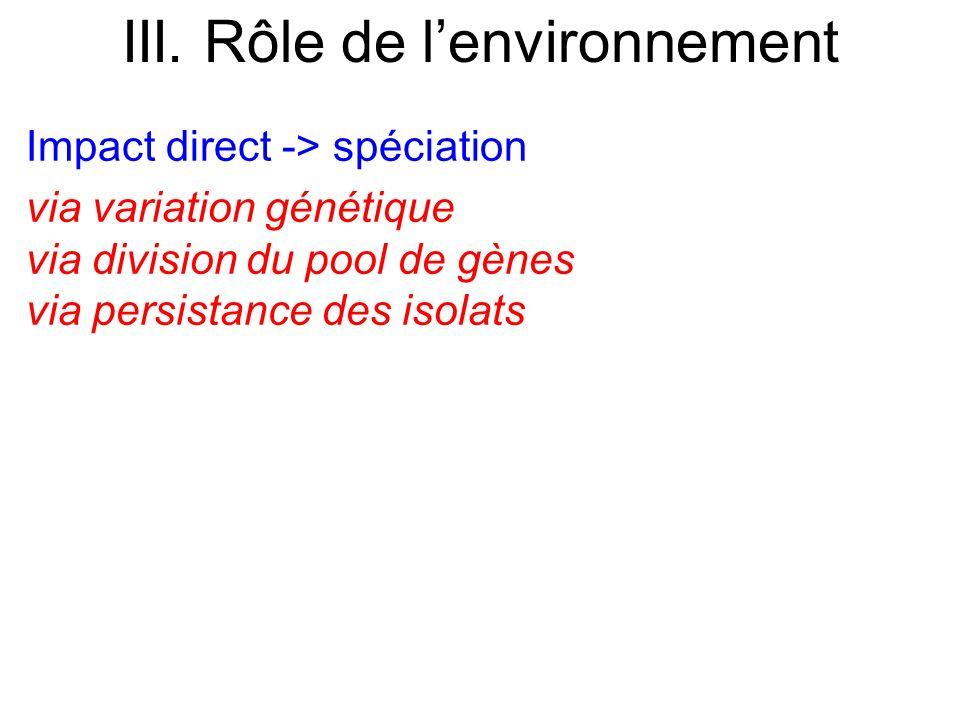Impact direct -> spéciation via variation génétique via division du pool de gènes via persistance des isolats III. Rôle de lenvironnement