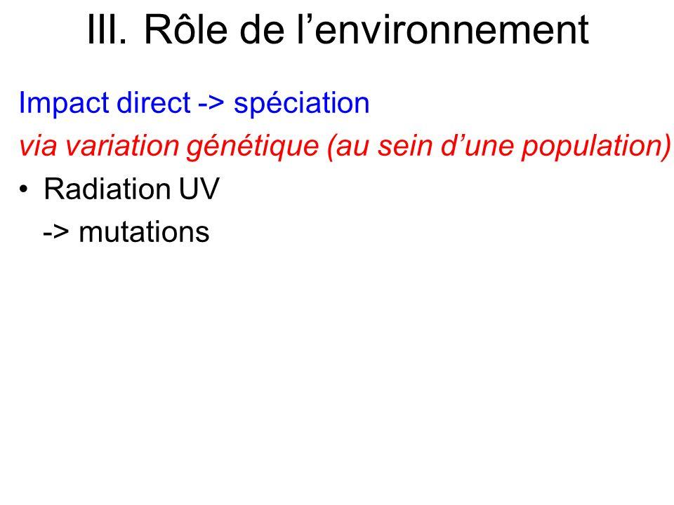 Impact direct -> spéciation via variation génétique (au sein dune population) Radiation UV -> mutations III. Rôle de lenvironnement