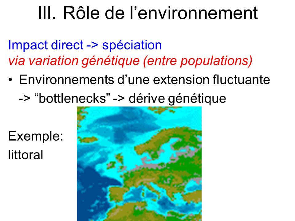 Impact direct -> spéciation via variation génétique (entre populations) Environnements dune extension fluctuante -> bottlenecks -> dérive génétique Ex