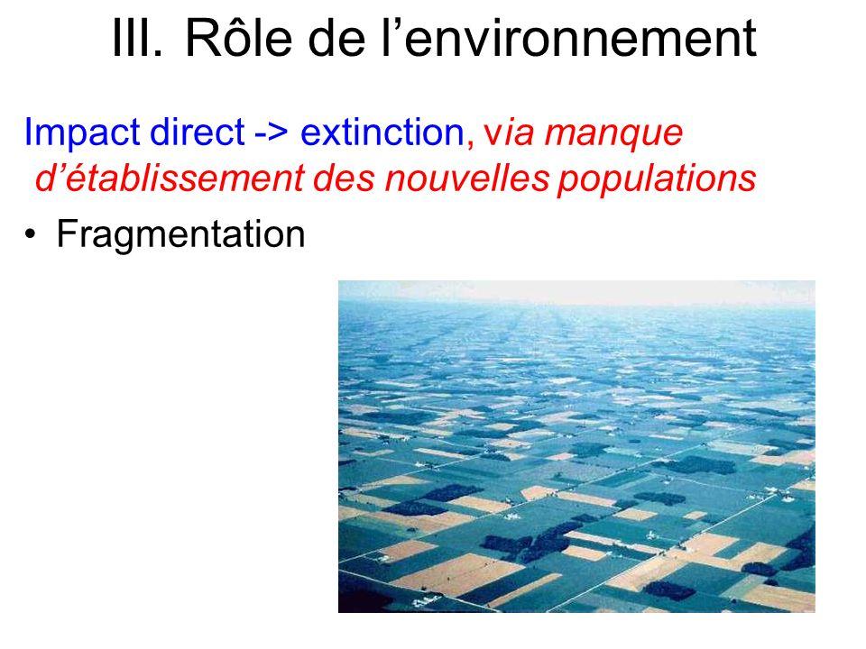 Impact direct -> extinction, via manque détablissement des nouvelles populations Fragmentation III. Rôle de lenvironnement