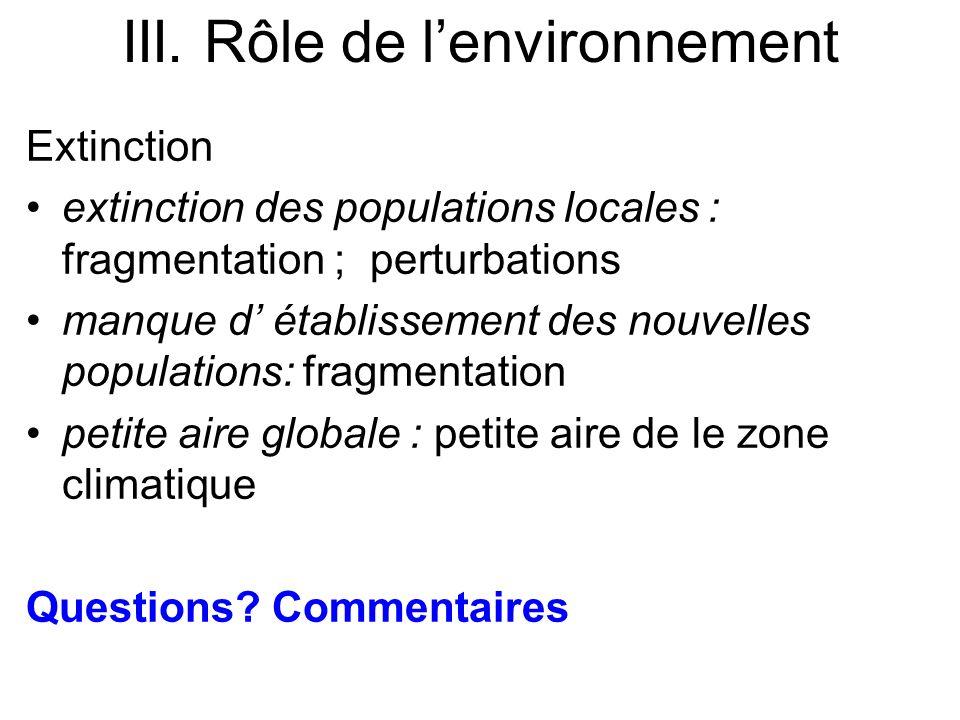 Extinction extinction des populations locales : fragmentation ; perturbations manque d établissement des nouvelles populations: fragmentation petite a