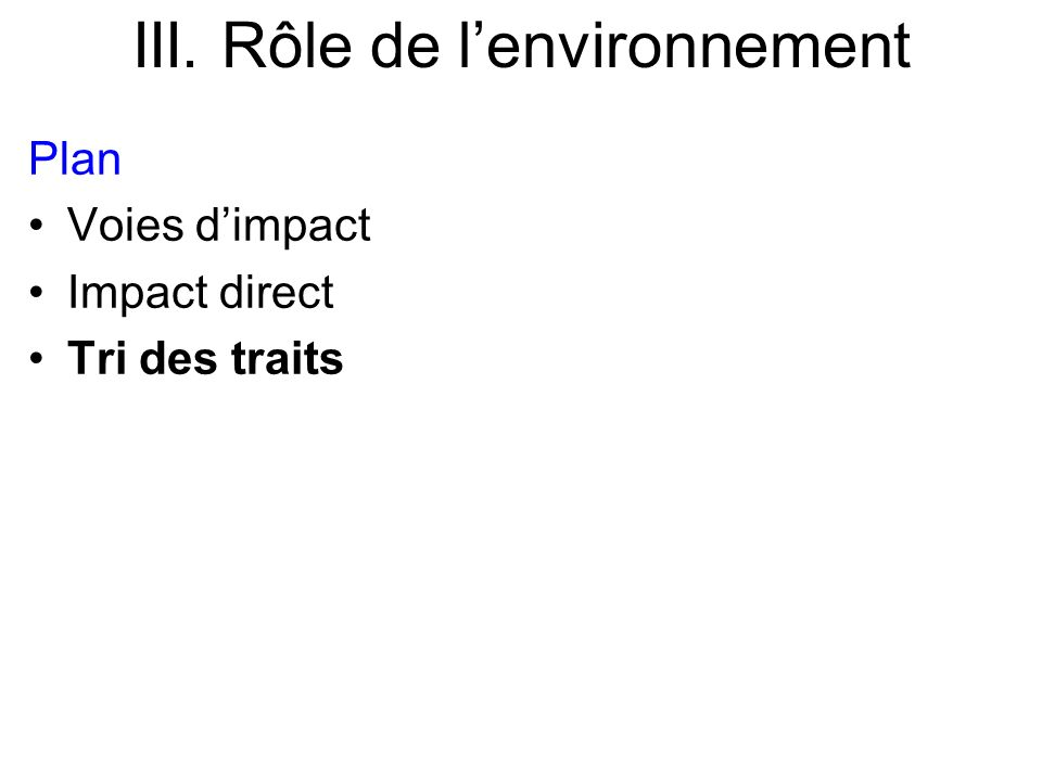 Plan Voies dimpact Impact direct Tri des traits