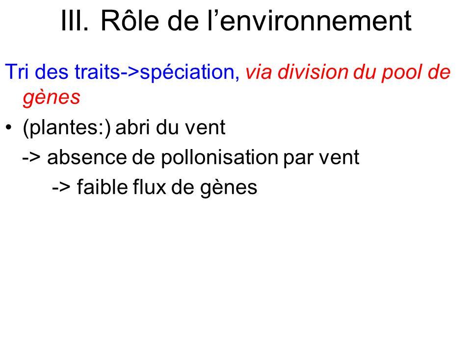 Tri des traits->spéciation, via division du pool de gènes (plantes:) abri du vent -> absence de pollonisation par vent -> faible flux de gènes III. Rô