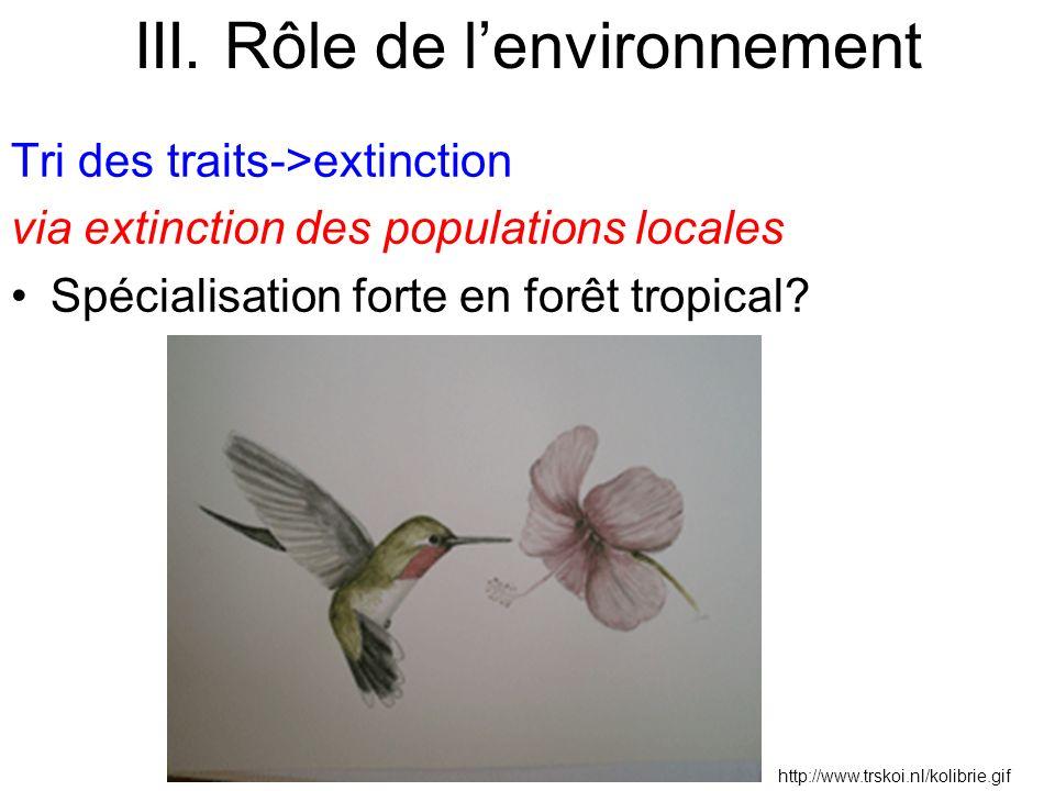Tri des traits->extinction via extinction des populations locales Spécialisation forte en forêt tropical? http://www.trskoi.nl/kolibrie.gif III. Rôle