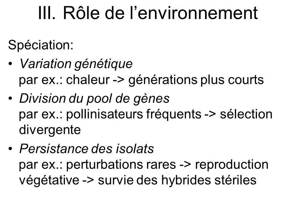 Spéciation: Variation génétique par ex.: chaleur -> générations plus courts Division du pool de gènes par ex.: pollinisateurs fréquents -> sélection d