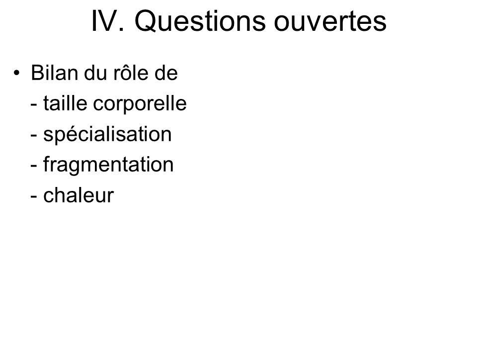 IV. Questions ouvertes Bilan du rôle de - taille corporelle - spécialisation - fragmentation - chaleur