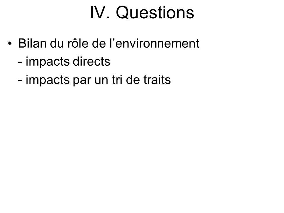 IV. Questions Bilan du rôle de lenvironnement - impacts directs - impacts par un tri de traits