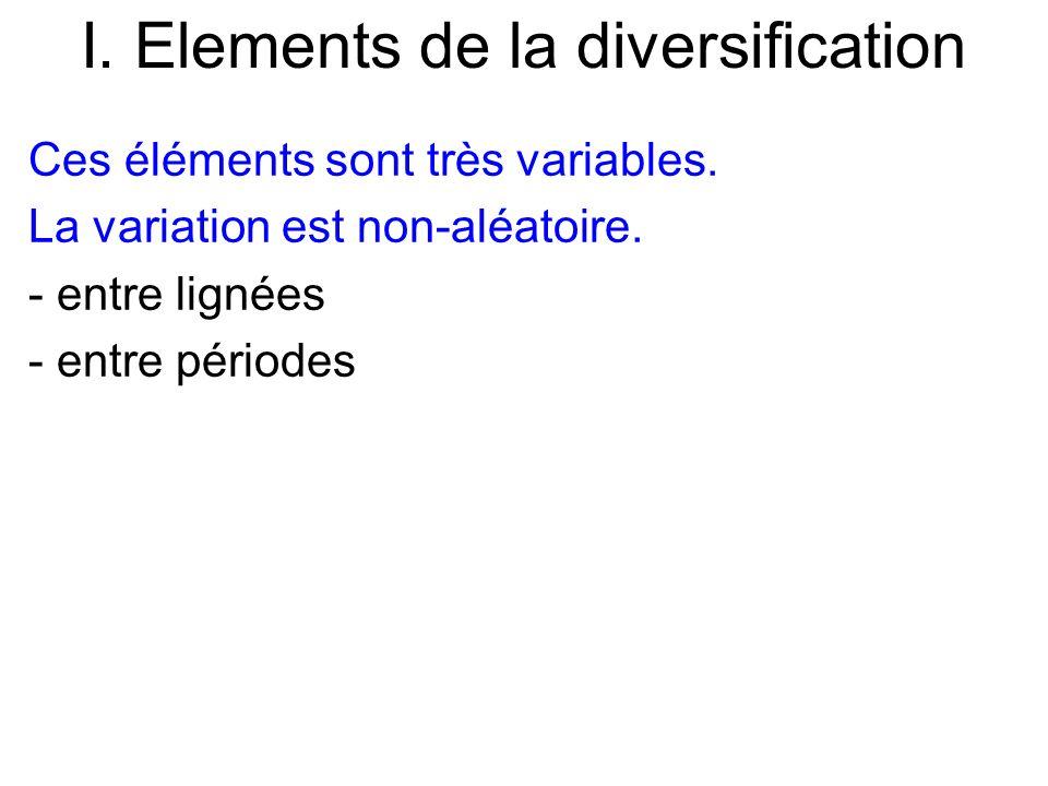 I. Elements de la diversification Ces éléments sont très variables. La variation est non-aléatoire. - entre lignées - entre périodes