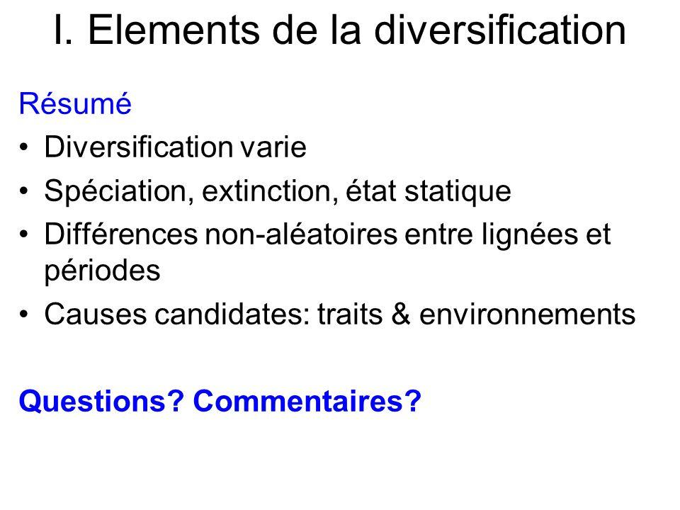 I. Elements de la diversification Résumé Diversification varie Spéciation, extinction, état statique Différences non-aléatoires entre lignées et pério