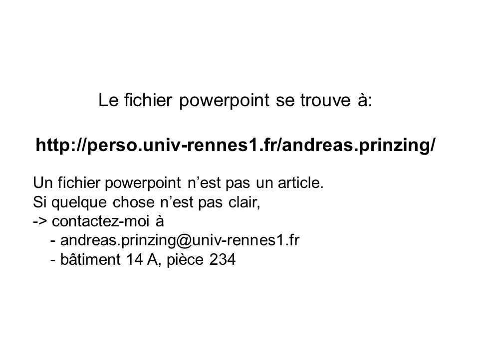 Le fichier powerpoint se trouve à: http://perso.univ-rennes1.fr/andreas.prinzing/ Un fichier powerpoint nest pas un article. Si quelque chose nest pas