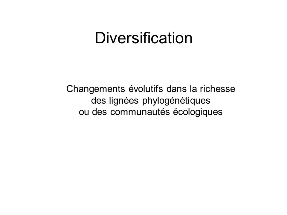 Tri des traits->spéciation, via division du pool de gènes Contraintes de temps -> faible spécialisation / large niche -> faible radiation dans différents niches -> peu de diversification OU -> population exposé à multiples pressions de sélection -> beaucoup de diversification III.