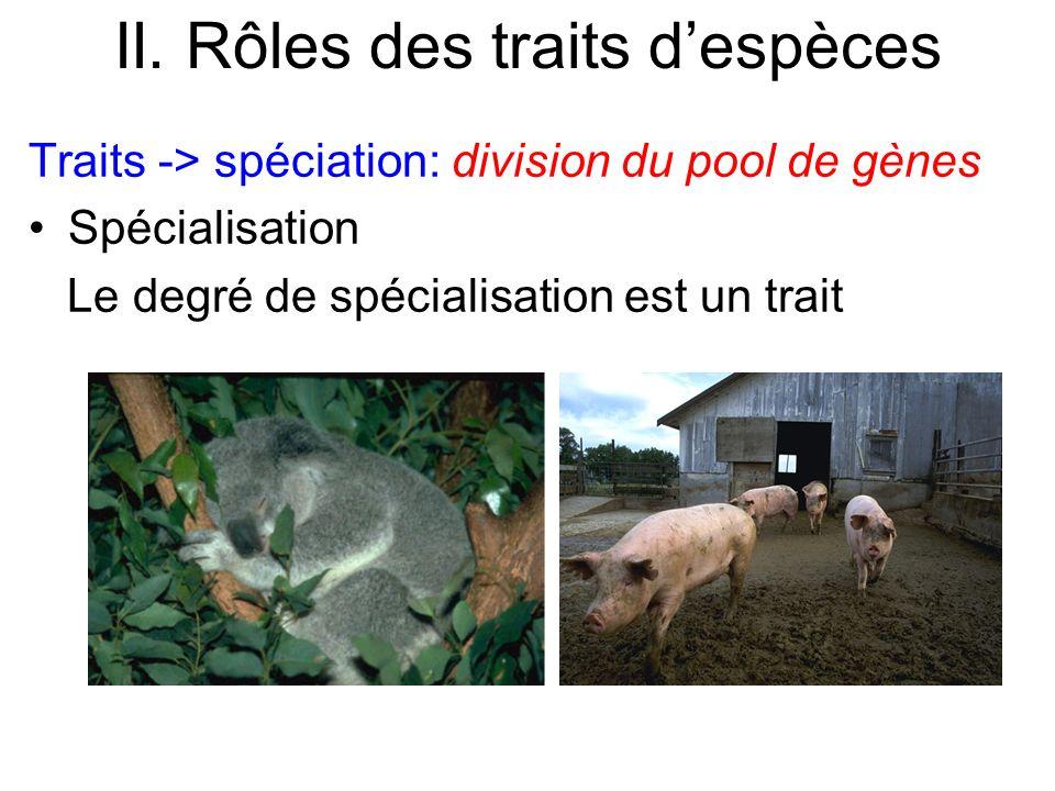 II. Rôles des traits despèces Traits -> spéciation: division du pool de gènes Spécialisation Le degré de spécialisation est un trait