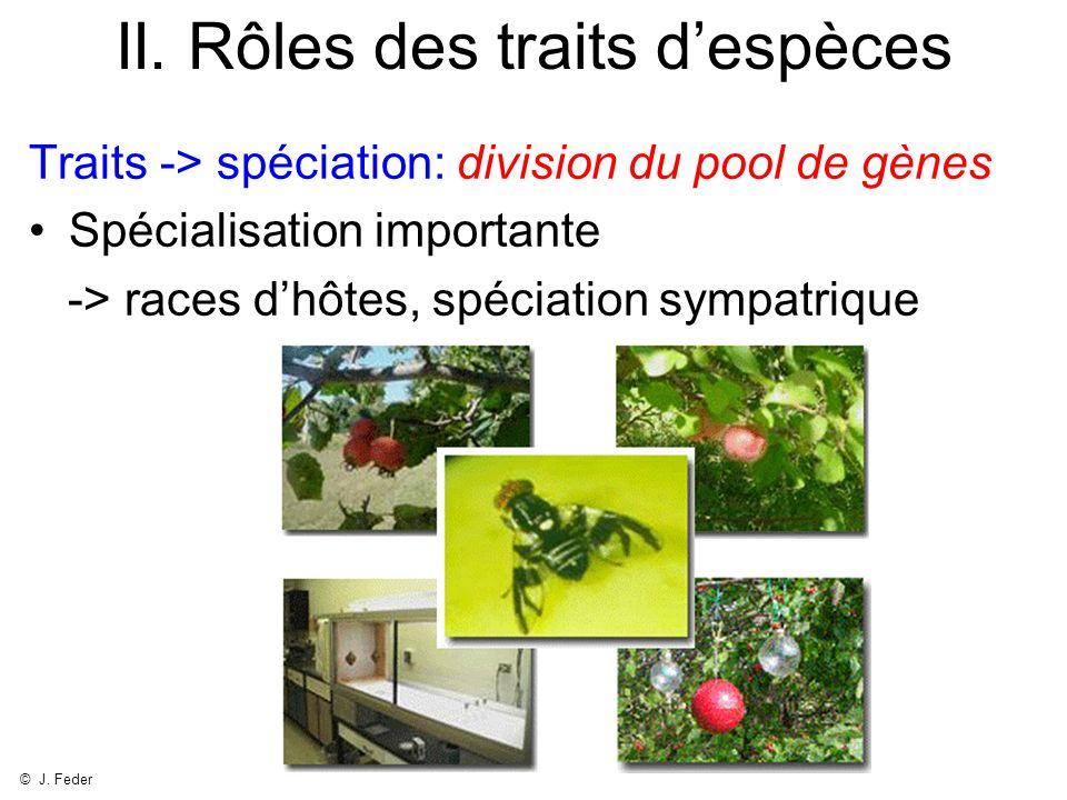 II. Rôles des traits despèces Traits -> spéciation: division du pool de gènes Spécialisation importante -> races dhôtes, spéciation sympatrique © J. F