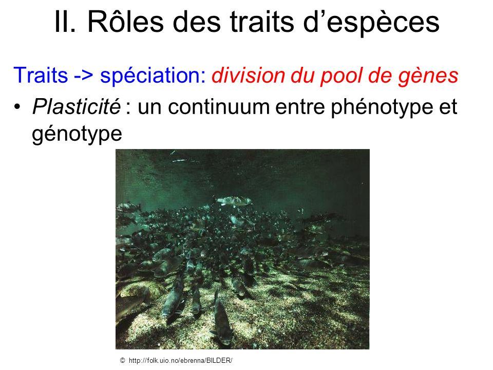 II. Rôles des traits despèces Traits -> spéciation: division du pool de gènes Plasticité : un continuum entre phénotype et génotype © http://folk.uio.