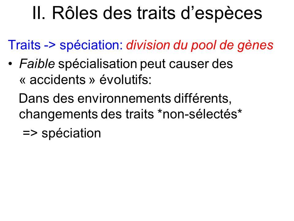 II. Rôles des traits despèces Traits -> spéciation: division du pool de gènes Faible spécialisation peut causer des « accidents » évolutifs: Dans des
