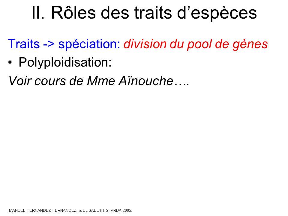 II. Rôles des traits despèces Traits -> spéciation: division du pool de gènes Polyploidisation: Voir cours de Mme Aïnouche…. MANUEL HERNANDEZ FERNANDE