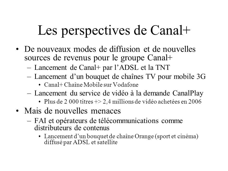 Les perspectives de Canal+ De nouveaux modes de diffusion et de nouvelles sources de revenus pour le groupe Canal+ –Lancement de Canal+ par lADSL et l