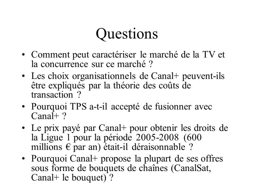 Questions Comment peut caractériser le marché de la TV et la concurrence sur ce marché ? Les choix organisationnels de Canal+ peuvent-ils être expliqu