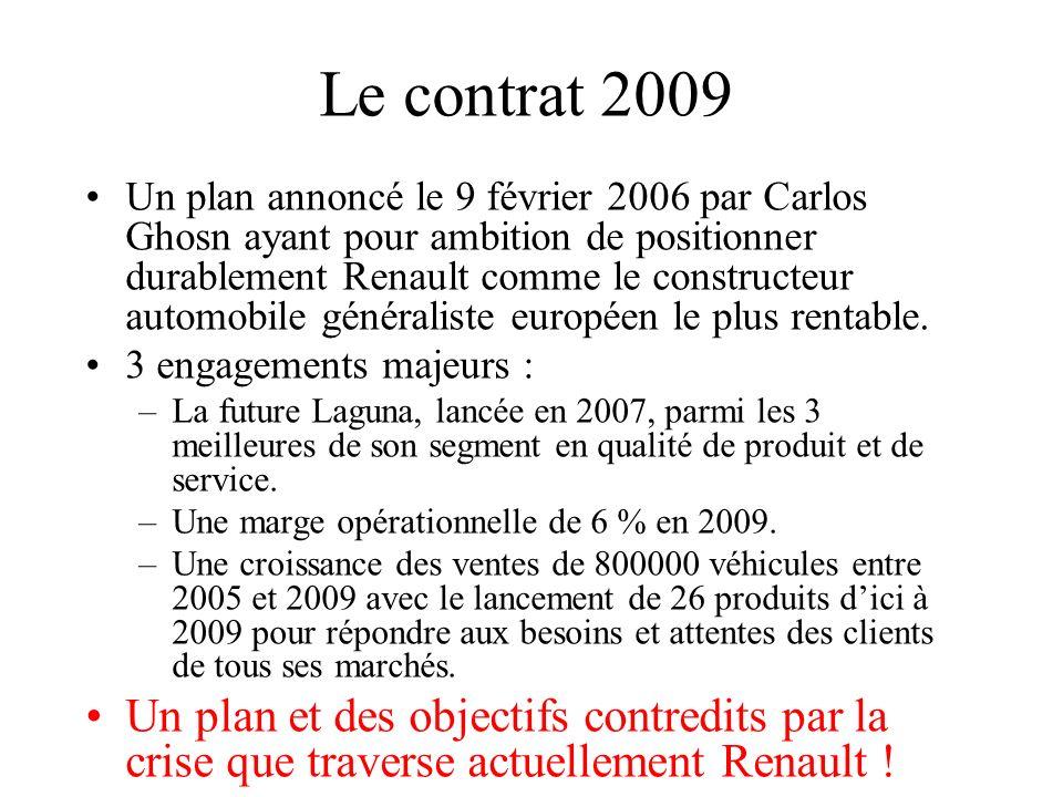 Le contrat 2009 Un plan annoncé le 9 février 2006 par Carlos Ghosn ayant pour ambition de positionner durablement Renault comme le constructeur automo