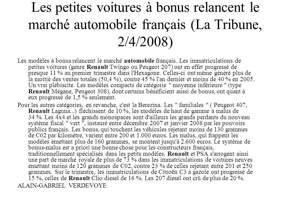 Les petites voitures à bonus relancent le marché automobile français (La Tribune, 2/4/2008) Les modèles à bonus relancent le marché automobile françai