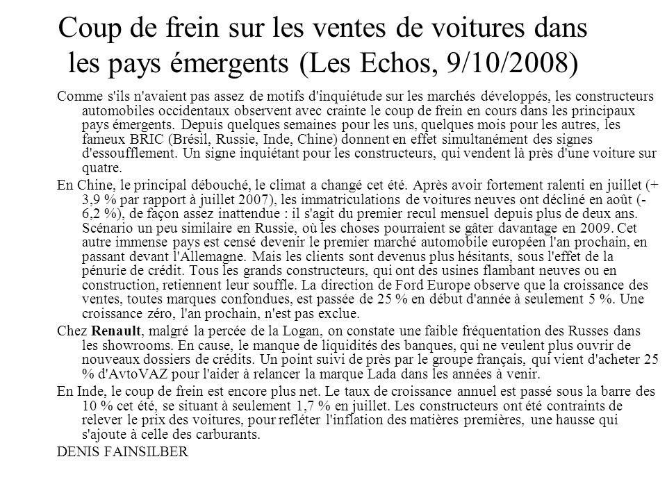 Coup de frein sur les ventes de voitures dans les pays émergents (Les Echos, 9/10/2008) Comme s'ils n'avaient pas assez de motifs d'inquiétude sur les