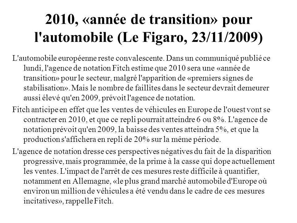 2010, «année de transition» pour l'automobile (Le Figaro, 23/11/2009) L'automobile européenne reste convalescente. Dans un communiqué publié ce lundi,
