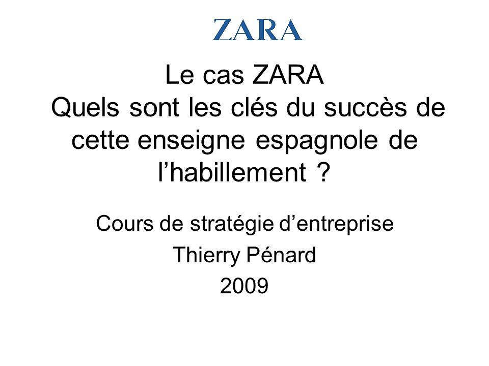 Le cas ZARA Quels sont les clés du succès de cette enseigne espagnole de lhabillement ? Cours de stratégie dentreprise Thierry Pénard 2009