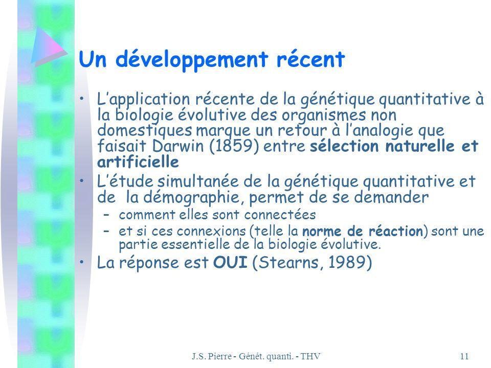J.S. Pierre - Génét. quanti. - THV11 Un développement récent Lapplication récente de la génétique quantitative à la biologie évolutive des organismes