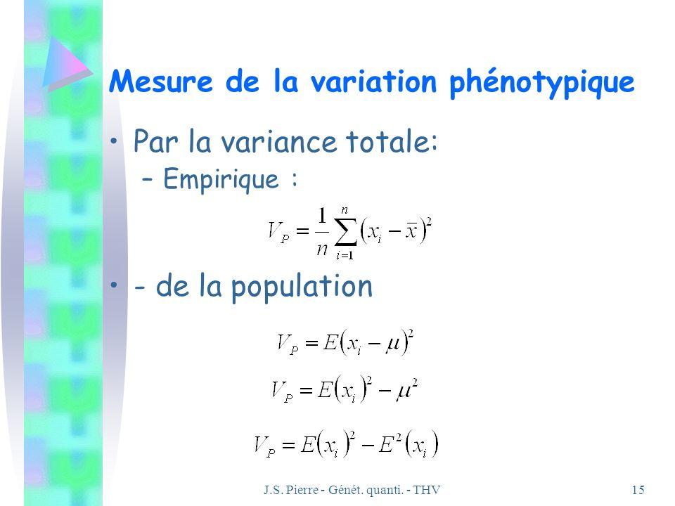 J.S. Pierre - Génét. quanti. - THV15 Mesure de la variation phénotypique Par la variance totale: –Empirique : - de la population