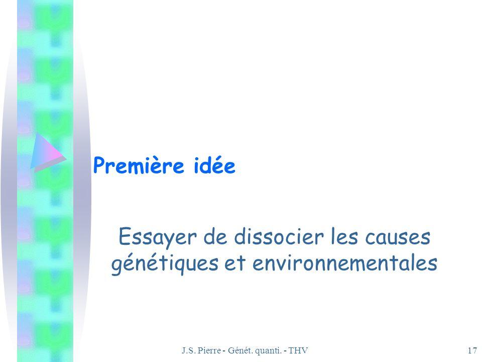 J.S. Pierre - Génét. quanti. - THV17 Première idée Essayer de dissocier les causes génétiques et environnementales