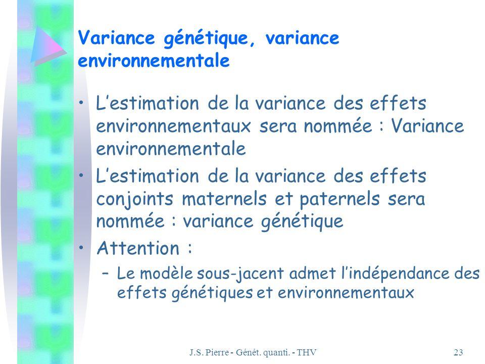 J.S. Pierre - Génét. quanti. - THV23 Variance génétique, variance environnementale Lestimation de la variance des effets environnementaux sera nommée