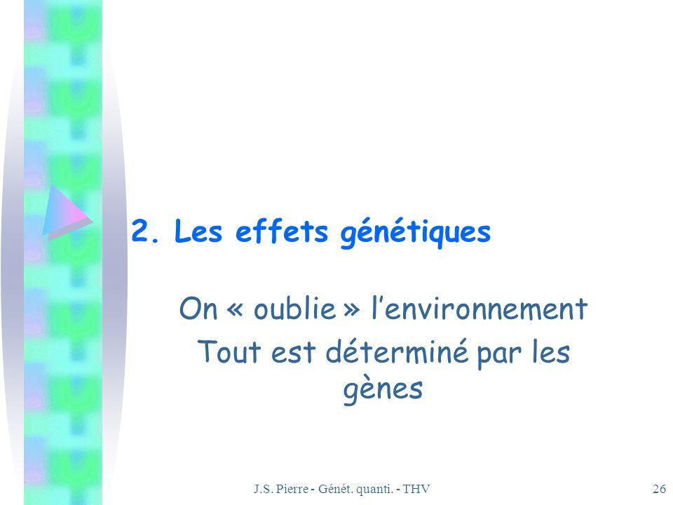 J.S. Pierre - Génét. quanti. - THV26 2. Les effets génétiques On « oublie » lenvironnement Tout est déterminé par les gènes