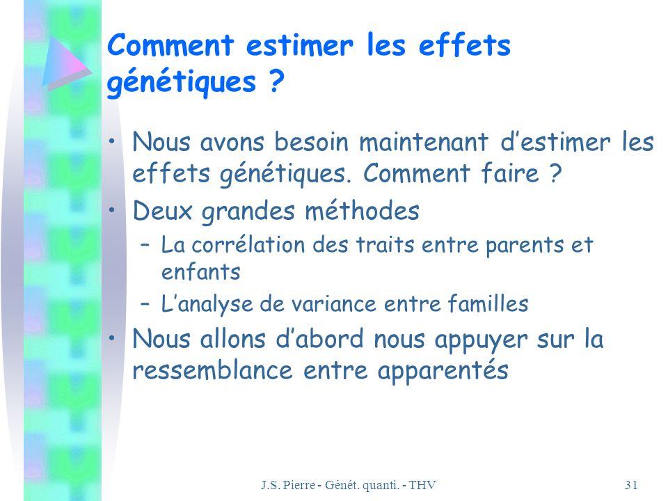 J.S. Pierre - Génét. quanti. - THV31 Comment estimer les effets génétiques ? Nous avons besoin maintenant destimer les effets génétiques. Comment fair