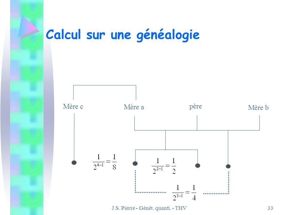 J.S. Pierre - Génét. quanti. - THV33 Calcul sur une généalogie Mère a père Mère b Mère c