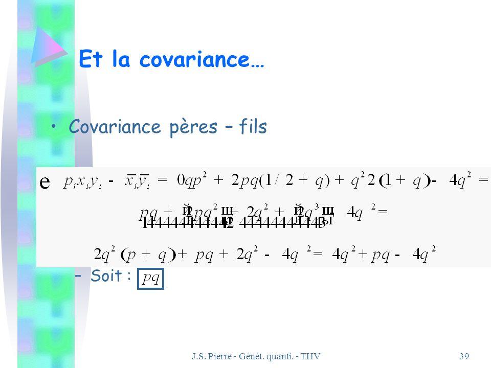 J.S. Pierre - Génét. quanti. - THV39 Et la covariance… Covariance pères – fils –Soit :