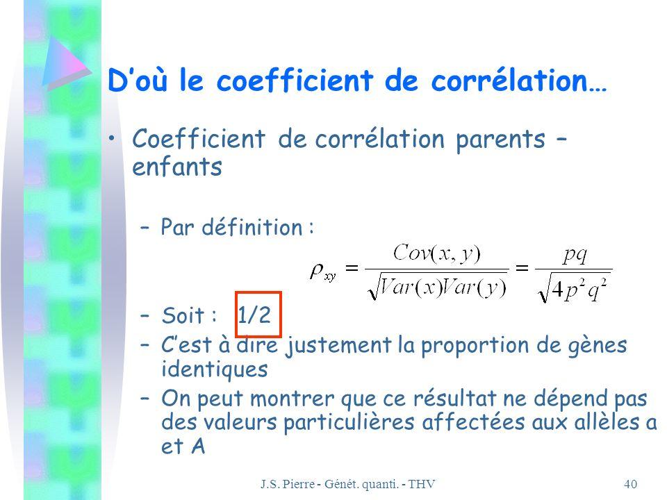 J.S. Pierre - Génét. quanti. - THV40 Doù le coefficient de corrélation… Coefficient de corrélation parents – enfants –Par définition : –Soit : 1/2 –Ce