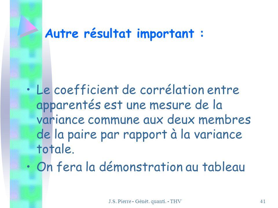 J.S. Pierre - Génét. quanti. - THV41 Autre résultat important : Le coefficient de corrélation entre apparentés est une mesure de la variance commune a