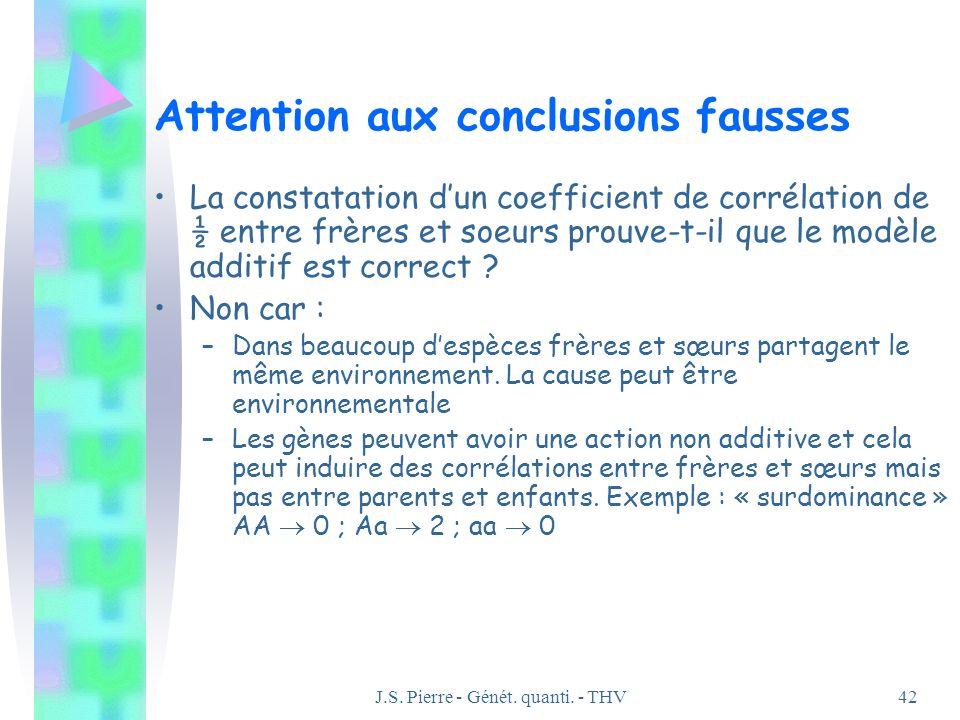 J.S. Pierre - Génét. quanti. - THV42 Attention aux conclusions fausses La constatation dun coefficient de corrélation de ½ entre frères et soeurs prou