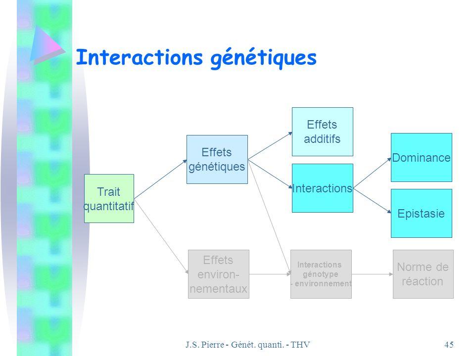 J.S. Pierre - Génét. quanti. - THV45 Interactions génétiques Effets génétiques Effets environ- nementaux Trait quantitatif Effets additifs Interaction