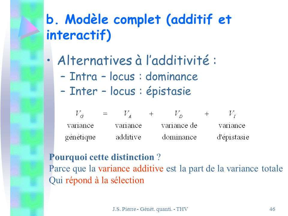J.S. Pierre - Génét. quanti. - THV46 b. Modèle complet (additif et interactif) Alternatives à ladditivité : –Intra – locus : dominance –Inter – locus
