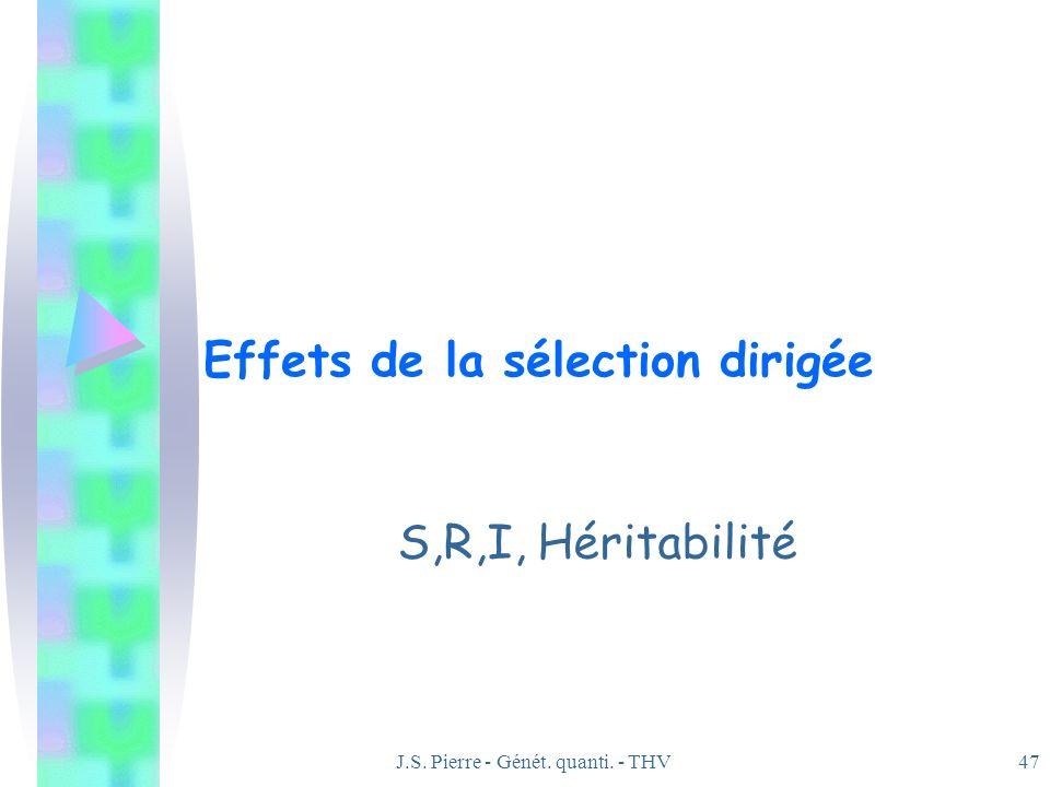 J.S. Pierre - Génét. quanti. - THV47 Effets de la sélection dirigée S,R,I, Héritabilité
