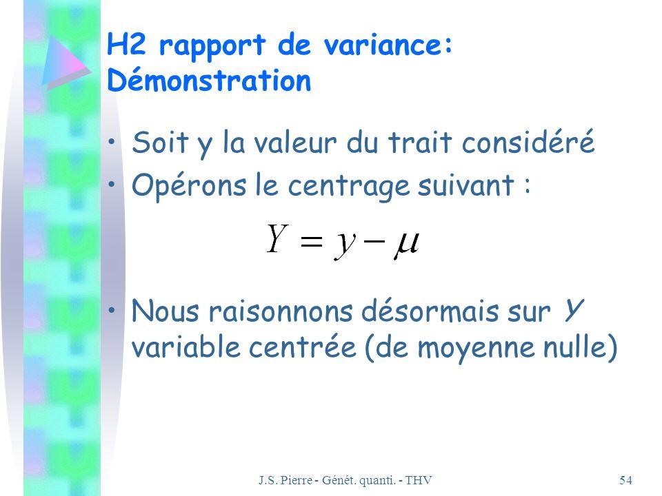 J.S. Pierre - Génét. quanti. - THV54 H2 rapport de variance: Démonstration Soit y la valeur du trait considéré Opérons le centrage suivant : Nous rais