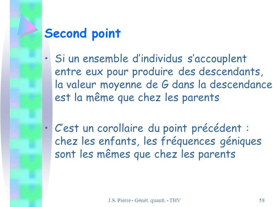 J.S. Pierre - Génét. quanti. - THV58 Second point Si un ensemble dindividus saccouplent entre eux pour produire des descendants, la valeur moyenne de
