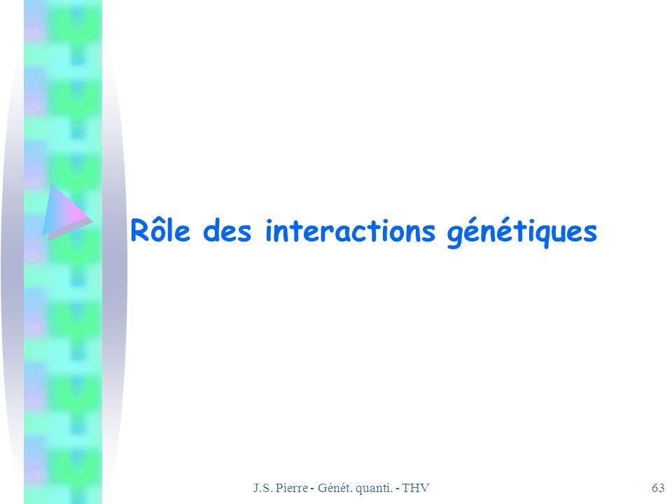 J.S. Pierre - Génét. quanti. - THV63 Rôle des interactions génétiques