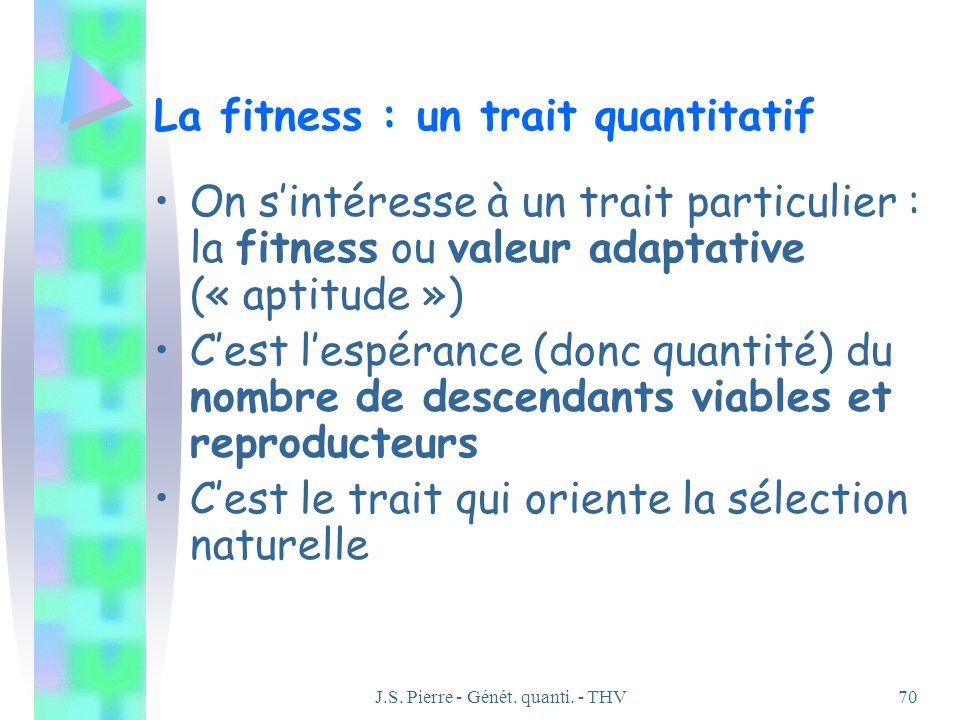 J.S. Pierre - Génét. quanti. - THV70 La fitness : un trait quantitatif On sintéresse à un trait particulier : la fitness ou valeur adaptative (« aptit